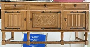 Rare Mid Century Oak Credenza Guillerme and Chambron Attribution France