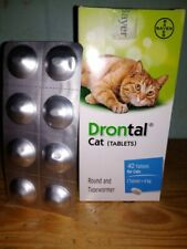 3 Tablets Drontal Cat Tablets - Round/Hookworm/Tape wormer by Bayer