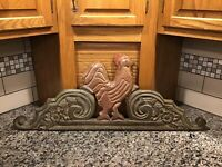VINTAGE WALL HANGING CARVED WOOD ROOSTER PRIMITIVE DECOR YARD LONG THREE HAND CO