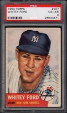 1953 Whitey Ford Topps Baseball Card #207 Graded PSA 4 Very-Good (VG-EX)