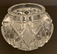 "Vintage Heavy Pressed Glass Jar File and Flower Design Clear 3 5/8"" x 4""d"