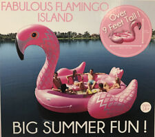 New Giant 9ft Inflatable Ride On 6 Person Flamingo Island Float Pool Lake Lounge