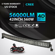 "4D 42""INCH 560W Curved LED Light Bar Flood Spot Combo Offroad Truck 4WD 44"" 50"""