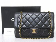 rk5115 Auth CHANEL Black Quilted Lambskin CC Double Flap Chain Shoulder Bag