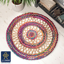 Fair Trade 90cm Round Multicolour Rainbow Handloom Jute & Cotton Braided Rug UK