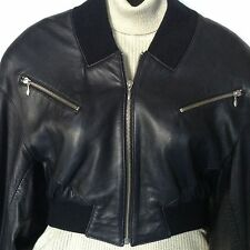 North Beach Black Leather Biker Bomber Jacket XS Michael Hoban Butter Soft FLAW*
