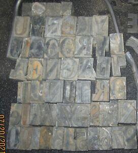 Lot of Vintage Lead Printing Press Typeset 53 Letters & Numbers Blocks 12+ lbs