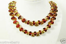 "VINTAGE JAPAN TWO STRAND RED & GOLD COLOR BEADED NECKLACE CLASP 23"" $0 SHIPPING"
