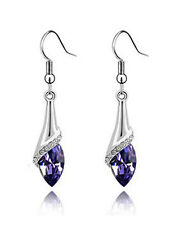Amazing Silver & Deep Purple Angel Eye Tear Drop Dangle Earrings E510