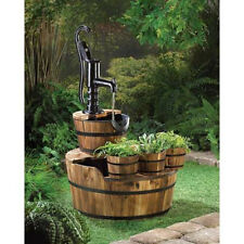 old fashioned water PUMP wood Wine Barrel Outdoor Patio Fountain flower planter