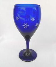LIBBEY TEARDROP COBALT BLUE SNOWFLAKE WINE GLASS GOBLET
