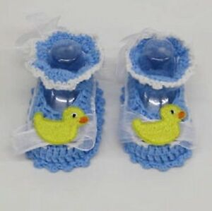 Baby Boys Blue Booties Pram shoes white yellow Duck First handmade crochet