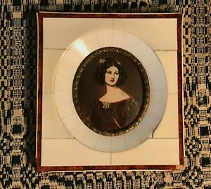 Antique framed Portrait Miniature of Nanette Kaula, after Joseph Karl Stieler
