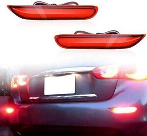 3D optic Bumper Brake Lights w/Sequential Turn Signal Fit Infiniti Q50 QX Nissan