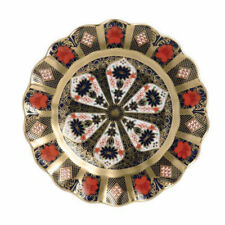 Royal Crown Derby 1st Quality Old Imari Solid Gold Band Fluted Dessert Plate