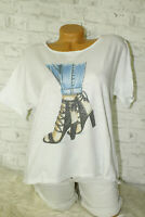 Italy New Collection T-Shirt puder weiß High Heel Gr. 36 38 40 42 blogger Strass