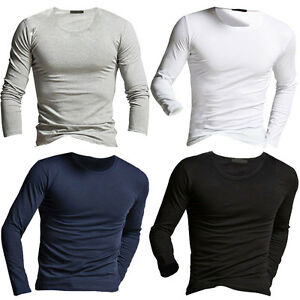 Fashion Men's Soft O-Neck Slim Fit Pullover Tops Long Sleeve T-shirts Tee Shirt