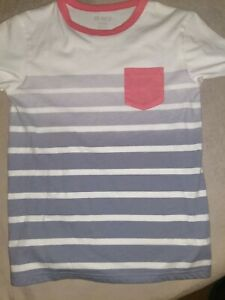 The Children Place Boy's White Stripe And Neon Orange T shirt Size 7/8