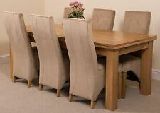Richmond Large Extending Solid Oak Dining Set Table and 6 Beige Fabric Chairs