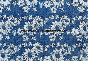4.6m Indigo Bleu Main Bloc Imprimé Indien Tissu Coton Confection Couture Boho
