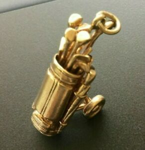 Vintage 9ct Gold Charm - Golf Trolley with Golf Clubs Hallmarked 6.42g