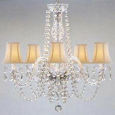 New! AUTHENTIC ALL CRYSTAL CHANDELIER WITH SHADES!