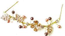 Brown Bronze Gold Leaf Hair Vine Headband Bridesmaid Flower Bridal Clip Vtg 1148