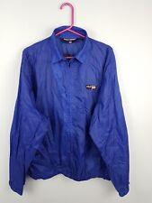 VTG RETRO MENS BLUE BRIGHT BOLD ZIP-UP ATHLETIC SPORTS RAIN JACKET COAT UK L/XL