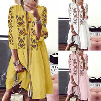 ZANZEA Bohemian Women Summer Holiday Party Long Shirt Dress Floral Sundress Plus