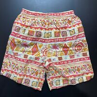 Vintage Mens Board Shorts Size S Beach 90s Bright Loud Surfing Sports Mambo