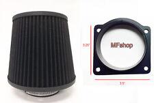 Black Air Intake Filter + MAF Sensor Adapter For 1995-2001 Mazda B4000 4.0L V6