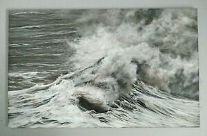 ORIGINAL painting OIL on panel SEASCAPE art VERNON W JONES Huge WAVE at cliff