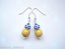 NAVY BLUE & WHITE STRIPE & YELLOW WOOD BEAD NAUTICAL Earrings SP Sailor Jerry