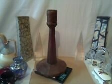 "ANTIQUE folk art PRIMITIVE WOODEN CANDLESTICK CANDLEHOLDER  gothic oak 13"" high."