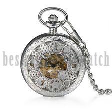 Vintage Steampunk Hollow Skeleton Mechanical Pocket Watch Necklace Windup Retro