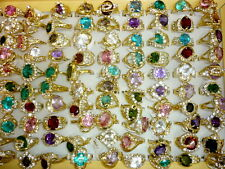 bulk Lots mix rhinestone 30pcs colors created CZ crystal vogue lady's gold rings
