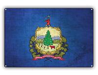 Vermont State Flag USA Vintage Look Aluminum Metal Wall Art