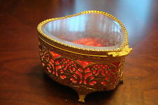 Jewelry box, red velvet crystal and golden filigree body heart shape [a*39]
