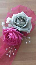 Wedding flowers bridesmaids wrist corsage hot pink/silver roses,diamante pearls