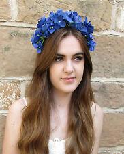 Blue Hydrangea Flower Hair Crown Vintage Festival Headband Daisy Garland T24