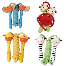 Kids Wooden Handle Skipping Rope Animal Face Zoo Character Exercise Jumping Hoop