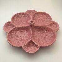 """Vintage Majolica Pink Large Cabbage Divided Platter 13.5"""" Subtil Portugal"""