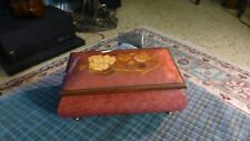 Vintage Burl Wood Inlay Flowers Brass Footed Jewelry Box/Music Box Made in Italy