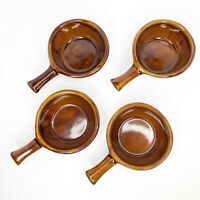 Vintage Monmouth Pottery 4 Soup Bowl Brown Beige Glazed Handled Maple Leaf 0901