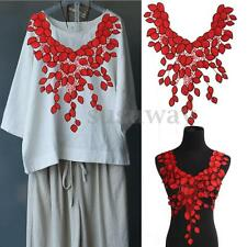 Red Leaves Lace Embroidery Neckline Collar Lace Patches Applique Motif Venise