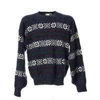 Herren Vintage Strickpullover Sweater Größe L Pullover Retro Norwegermuster
