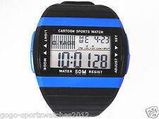 Men Boy Digital Watch Biking Sports Alarm Date Day Light Stopwatch Blue Plastic