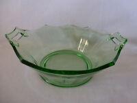 Vintage Green Depression Glass Scalloped Edge Bowl w/Handles