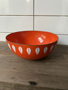 "Vintage 8"" enamel ware cathrineholm orange lotus bowl"