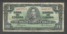 1937 $1.00 BC-21d F-VF King George VI COYNE-Towers OLD Bank of Canada One Dollar